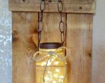 Mason Jar woodwork lighting