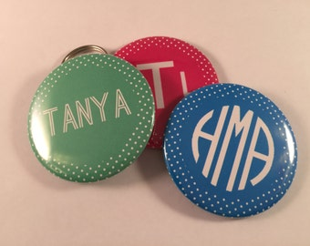 Personalized Polka Dot Bottle Openers, Pocket Mirrors, and Magnets