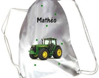 Pool green tractor personalized with name gym bag