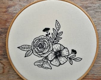 Handmade flower embroidery in 6 inch hand stained hoop