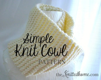 Instant Download - PATTERN for Simple Knit Cowl - Beginner Knit No Sew Illustrated single + double wrap lengths