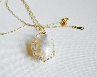 Large Baroque Pearl Necklace, White Baroque Pearl, Gold Wire Crochet, Statement Pearl, South Sea Pearl, Unique Pearl, Anniversary Gift