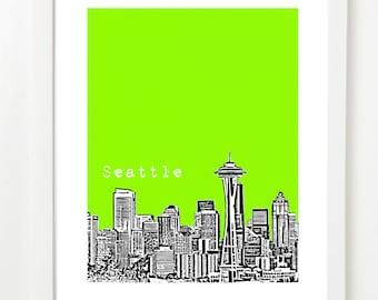 Seattle - Seattle Poster - City Skyline Art Print - Seattle Washington - Space Needle VERSION 1