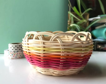 "Hand woven basket titled ""Ombré Sun"" Authentic Native America Art double wall basket handmade basket"