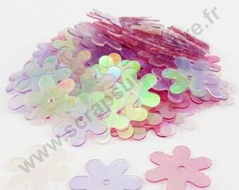 Sequin glitter - pink flower - 13mm - x 100