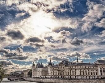Paris Photograph, Fine Art Print, Blue Sky Photo, Paris Architecture, Cloud Photography, Blue and White Home Decor, Wall Art, Paris City Art