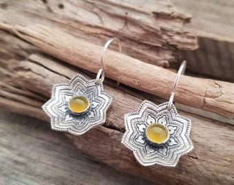 Sterling Silver Earrings, Silver Mandala Earrings, Silver Dangle Earrings, Yellow Chalcedony Earrings, Boho Earrings, Yellow Stone Earrings