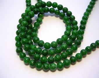 6mm Green Mountain Jade Green Stone Beads 65 Pieces 6mm Green Round Stone Beads 1mm hole
