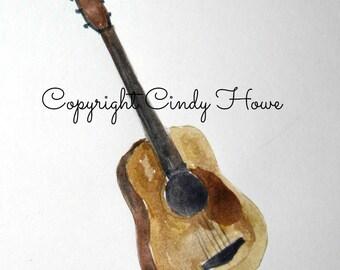 Digital art, Guitar, musical, instruments, acoustic instrument,Guitar art, digital download, acoustic guitar
