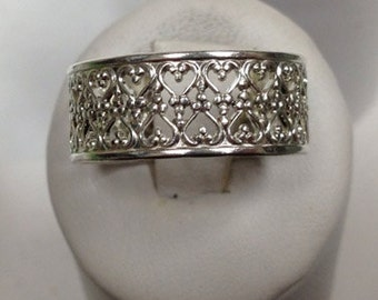 Sterling Silver Heart Lace Ring Style 6