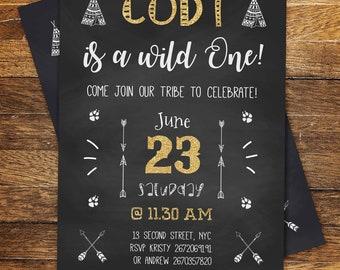 Wild One Birthday Invitation, Wild One Invitation, Wild One Crown Birthday Invitation, First Birthday Invitation, Printable Birthday Invite