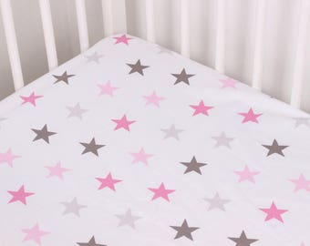 Sheets Pink Gray Stars Baby Girls, Handmade Baby, Toddler Sheet, Sheets Crib, Cotton sheet, Crib Bedding, Fitted Crib Sheet, Nursery Bedding