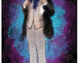 First Doctor William Hartnell 1st Dr Who Splash Style A4 Original Art Print