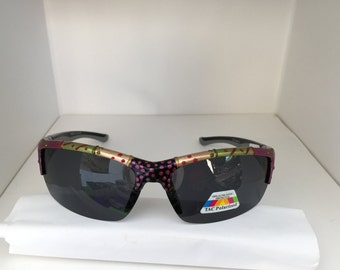 """Hand painted """"Green Chilie Verde"""" polarized, wrap around sports sunglasses, colorful and unique."""