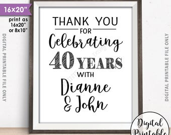 """Anniversary Party Sign, Thank You for Celebrating Anniversary Party Decoration, Wedding Anniversary Gift, 8x10/16x20"""" Printable Sign"""