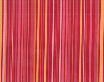 Tissu coton patchwork à rayures jaunes et rouges