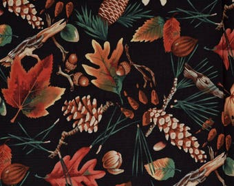 Alexander Henry fabric Autumn Fall leaves pine cones acorns Forest Floor gorgeous Naturescape fabric Thanksgiving table decor