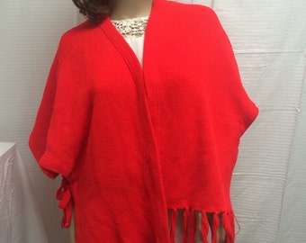 Red knit shawl, red knit wrap, shawl, wrap, fringed