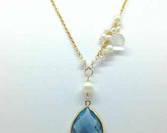 Blue Topaz 14K GF necklace with White Topaz 14K white Gold tube setting crystal stone pearl necklace
