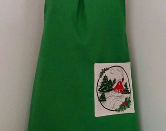 Green Holiday Apron with Pocket
