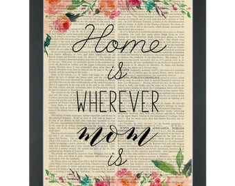 Mothers day flower Home quote Dictionary Art Print