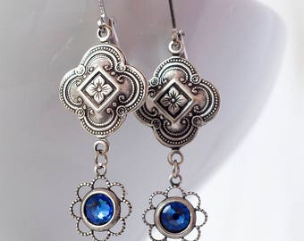 Art Deco Earrings, Sapphire, Swarovski Crystal, Vintage Drop Earrings, Edwardian Earrings, Antique Sterling Silver Connector, Handmade UK