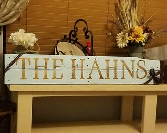 Pallet Wood Painted Last Name Sign with Raffia Tie