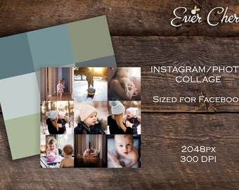 Instagram Digital Collage for Facebook or Blog - Storyboard Photographer Template PSD Social Media Pinterest Photography