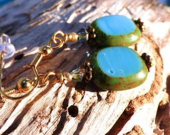 Window Bead Glass Earrings, Blue, teal, green, organic