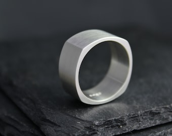 Square Sterling Silver Band, 10mm Wide Band, Simple Square Wedding Band, Men's Square Wedding Band, Men's Ring, Ready to Ship Size 9, 10, 11