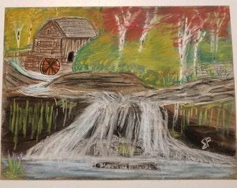 Pastel Waterfall Landscape Scene Original
