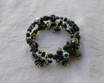 Black Memory Wire Bracelet, Iridescent, Rainbow Shimmer, One Size, Silver Spirals, Statement Jewelry