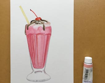 Cherry Milkshake Original Food Illustration Watercolour Illustration