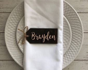 Wedding place cards - Wedding name tags - Bridesmaid gift tags - wedding names - Laser Cut wood tags - Personalized Bridesmaids name tags