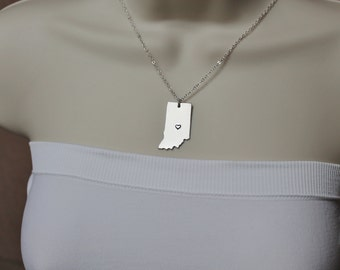 Indiana State Necklace, ANY City State Necklace, IN Necklace, State Jewelry
