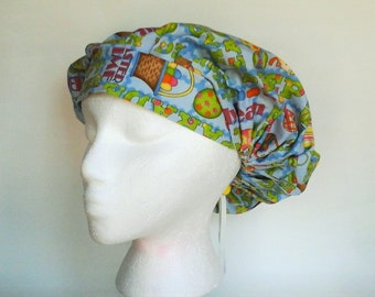 Bouffant Women's Easter Basket Goodies on Blue Surgical Scrub/OR Hat
