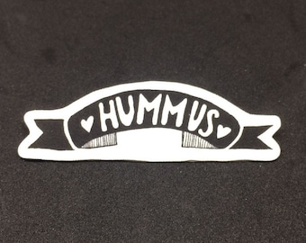 Hummus - Brooch badge pin - Shrink film - Vegan - Vegetarian - Chickpeas - Plant based - Typography - Black and white - Monochrome - Quirky
