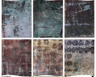 Grungy Blue Burgundy Beige Painted Digital Prints Instant Download Set of 6 - 8.5 x 11 inch Printable Papers JPEG & PDF Commercial Use 1979