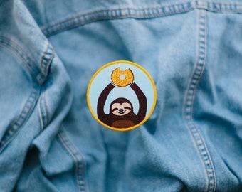 SALE - Doughnut Sloth Iron-on Patch