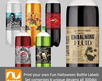Fun Spooky Halloween Party Digital Soda Bottle Label Set - 300dpi PNG & JPEG Files
