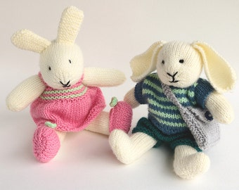 Toy Knitting Pattern, Rabbit Knitting Pattern, Robert and Rosie, Knitted Bunny Pattern, Knit Toy Pattern, Rabbit Knitting Patterns