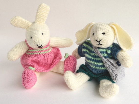 Toy Knitting Pattern Rabbit Knitting Pattern Robert And Rosie