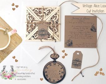 "x1 Vintage ""Laser Cut Alice In Wonderland' Invitation Set"