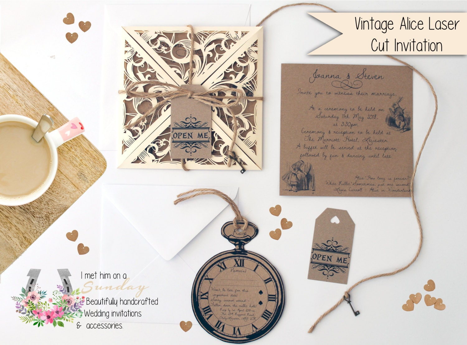 x1 Vintage Laser Cut Alice In Wonderland Invitation