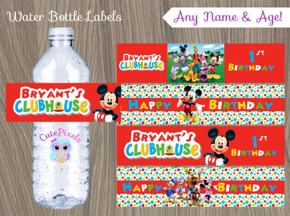 Lovely Mickey Mouse Water Bottle Labels Mickey Mouse Birthday PO31