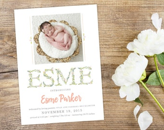 Floral Baby Photo Birth Announcement - Custom Modern New Baby Personalized Printable Design - Pastel Colors and Flowers