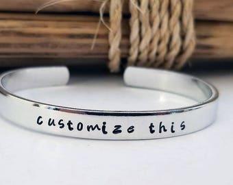 Hand Stamped Bracelet, Customized Aluminum Skinny Cuff, Bangle Bracelet, Personalized Gift, Graduation Gift, Birthday, Mothers Day,
