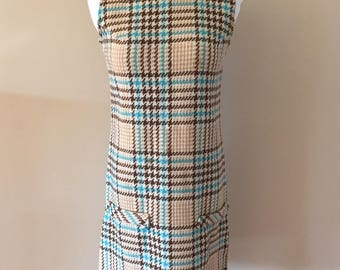1960's Vintage Camel/Brown/Turquoise/White Wool Plaid Houndstooth Shift