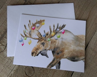 Moose Christmas Card - Holiday Moose