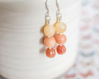 Stacked Orange and Yellow Beaded Earrings // Yellow and Orange Beaded Earrings // Gifts for Her // Gifts under 10 Dollars